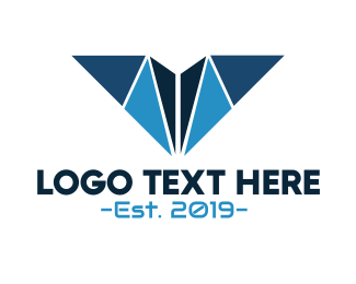 Aeronautics - Blue Geometric V logo design
