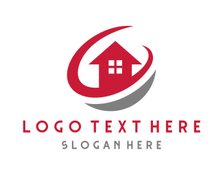 House Painter - Red House Circle logo design