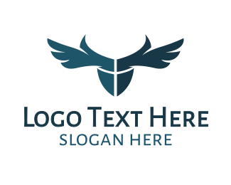 Surveillance - Blue Horned Wings logo design
