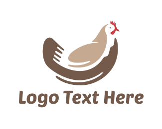 Farm Animal - Brown Chicken logo design