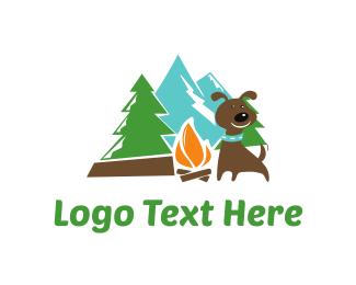 Pine Tree - Dog Camp logo design