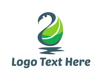 Goose - Swan Leaf logo design