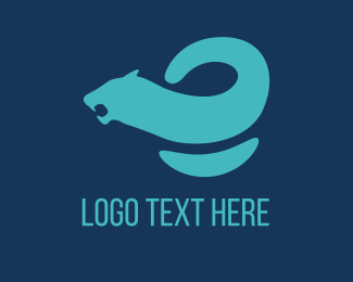 Cheetah - Blue Curved Feline logo design
