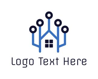 Broker - Tech Home Circuit logo design