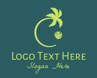 Coconut - Green Coconut Tree logo design