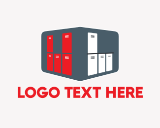Storage - Red & White Lockers logo design