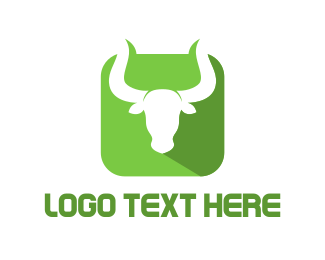 Oxen - Green Bull Horns logo design