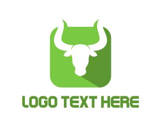 Organic Meat - Green Bull Horns logo design