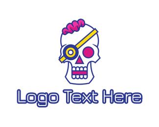 Crypt - Modern Punk Skull logo design