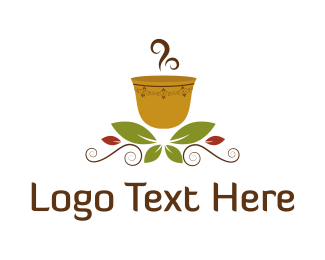 Cappuccino - Hot Cup & Leaves  logo design