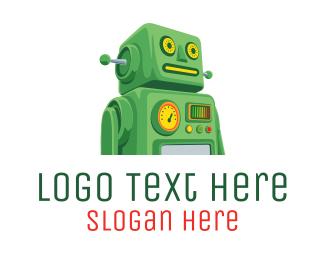 Bot - Green Retro Bot logo design