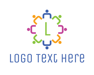 Human Resource - Abstract Colorful Crowd logo design