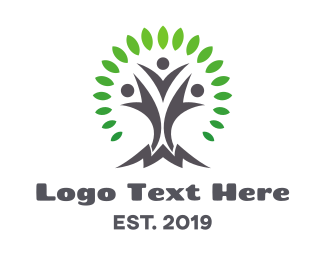 Human Resource - Circle Pattern Leaf Tree logo design