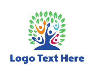 Human Resource - Colorful People Tree logo design