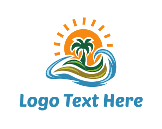 Coconut Tree - Wavy Island logo design