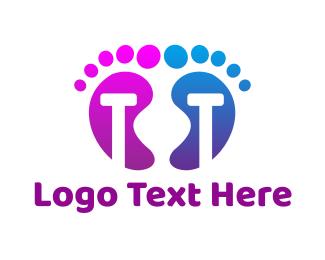Foot - Violet Blue T Feet logo design