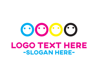 Printing - CMYK Faces logo design