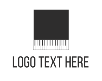 Pianist - Black Piano Square logo design