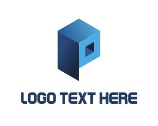 Letter P - Blue Cube  logo design