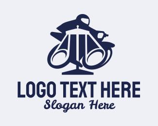 Blue Motorcycle Rider Logo