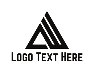 Black And White - Mountain Letter A logo design