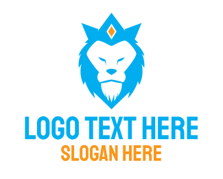 Luxury - Blue Lion Crown  logo design