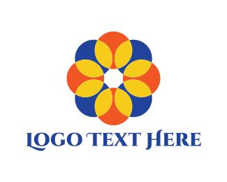 60s - Round Flower logo design