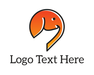 Painting - Orange Elephant logo design