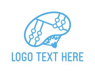 Paragliding - Blue Parachute logo design