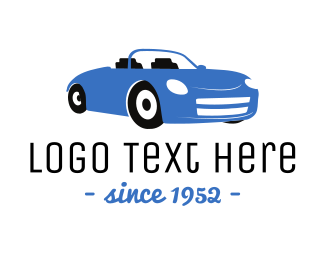 Car Wash - Blue Convertible Car logo design