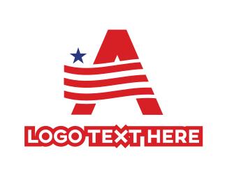 American - American A Flag logo design