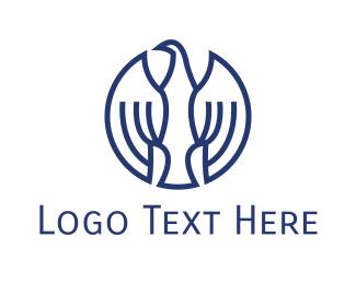 Dove - Round Blue Eagle logo design