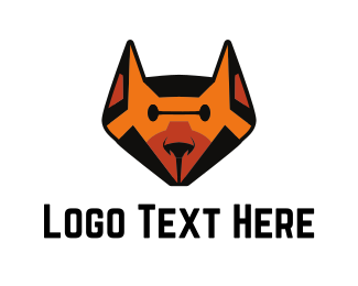 Wolf - Orange Robot Dog logo design