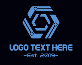 Computer Software - Modern Hexagonal Circuit logo design