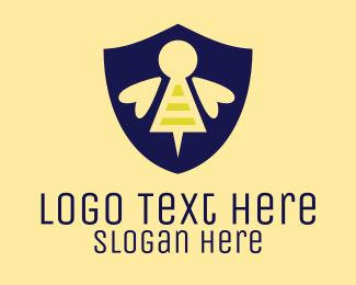 Sting - Bee Shield logo design