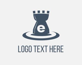 Chess - E Castle Water logo design