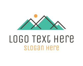Hiking - Abstract Teal Mountains logo design