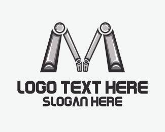 Metallic - Robotic Letter M logo design
