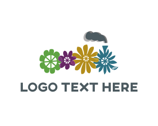 Train - Flower Train logo design