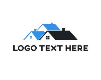 Apartment - Abstract Black Blue House logo design