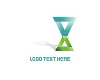 Time - Triangle Hourglass logo design