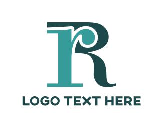 Calligraphy - Blue Letter R logo design
