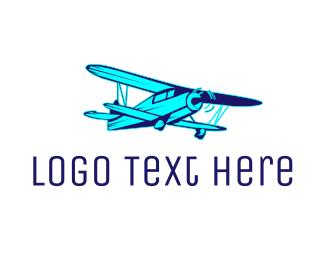 Flight School - Blue Vintage Airplane logo design