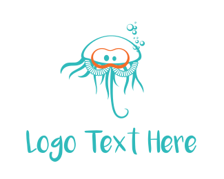 Jellyfish - Diver Jellyfish logo design