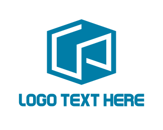 Courier - Abstract Blue Cube logo design