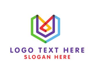 Letter U - Abstract Letter V logo design