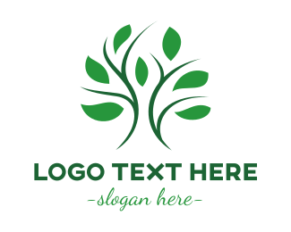 Primitive - Curvy Stroke Tree Leaf logo design