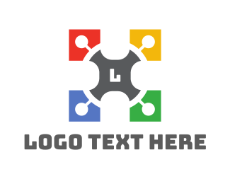 Publisher - Colorful Puzzle Lettermark logo design