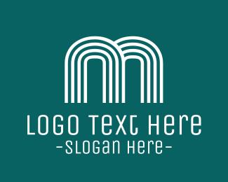 Striped - Striped Blue Letter M logo design