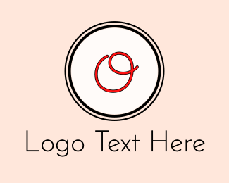 Handwriting - Red Cursive Letter O logo design